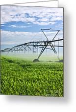 Irrigation Equipment On Farm Field Greeting Card