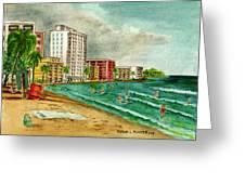 Isla Verde Beach San Juan Puerto Rico Greeting Card