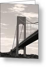 Island Bridge Bw Greeting Card