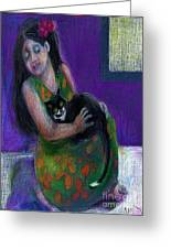 Island Girl And Cat Greeting Card