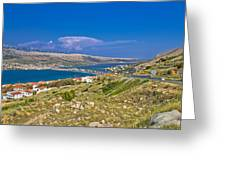Island Of Pag Aerial Bay View Greeting Card