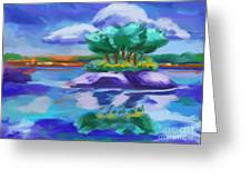 Island On The Lake Greeting Card