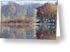 Island Reflected In The Potomac River Greeting Card