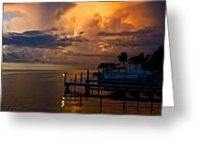 Tropical Island Storm Over Florida Keys Docks Greeting Card