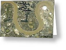 Isle Of Dogs, Aerial Photograph Greeting Card