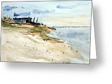 Isolated Beach House Greeting Card