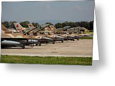 Israeli Air Force F-16`s Of Three Greeting Card