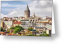 Istanbul Cityscape And Galata Tower Greeting Card