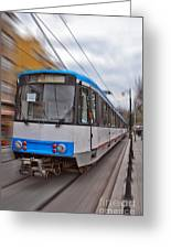 Istanbul Tram In Motion Greeting Card