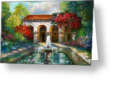 Italian Abbey Garden Scene With Fountain Greeting Card
