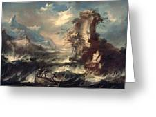 Italian Seascape With Rocks And Figures Greeting Card