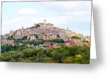 Italian Village From Afar Greeting Card
