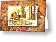 Italy Sketches Hotel Europa Regina Greeting Card