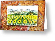 Italy Sketches Sunflowers Of Tuscany Greeting Card