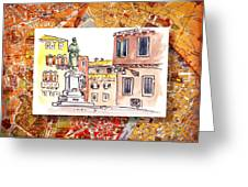 Italy Sketches Venice Piazza Greeting Card