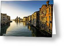 Italy, Venice, Buildings Along Canal Greeting Card