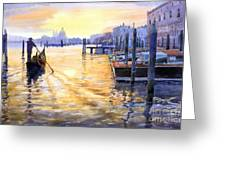 Italy Venice Dawning Greeting Card by Yuriy Shevchuk