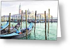 Italy Venice Gondolas Parked Greeting Card by Yuriy Shevchuk