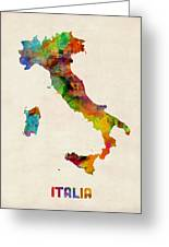 Italy Watercolor Map Italia Greeting Card