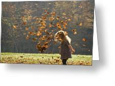 It's Raining Leaves Greeting Card