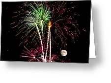 Its Raining Red Drops On The Red Flowers - Fireworks And Moon Greeting Card