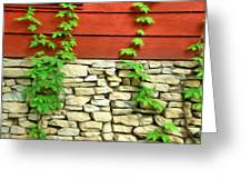 Ivy On Stone And Wood Greeting Card