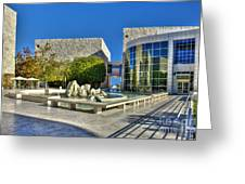 J. Paul Getty Museum Courtyard Fountains Blue Veined Marble Boulders Sculpture Greeting Card