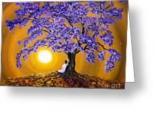 Jacaranda Sunset Meditation Greeting Card