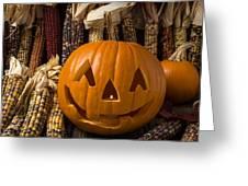 Jack-o-lantern And Indian Corn  Greeting Card
