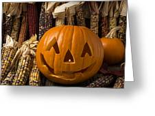Jack-o-lantern And Indian Corn  Greeting Card
