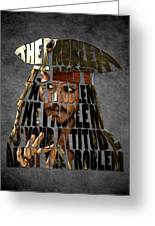 Jack Sparrow Quote Portrait Typography Artwork Greeting Card