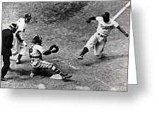 Jackie Robinson In Action Greeting Card by Gianfranco Weiss