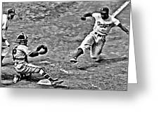Jackie Robinson Stealing Home Greeting Card