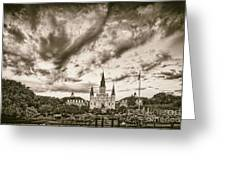 Jackson Square And St. Louis Cathedral In Black And White - New Orleans Louisiana Greeting Card
