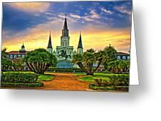 Jackson Square Evening - Paint Greeting Card