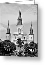 Jackson Square In Black And White Greeting Card