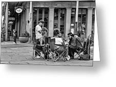 Jackson Square Reading 2 Bw Greeting Card