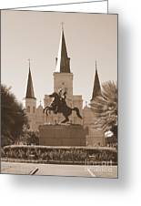 Jackson Square Statue In Sepia Greeting Card