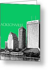 Jacksonville Florida Skyline - Green Greeting Card by DB Artist