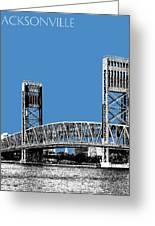 Jacksonville Skyline 2  Main Street Bridge - Slate Blue Greeting Card
