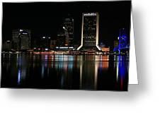 Jacksonville Skyline At Night Greeting Card by Georgia Fowler