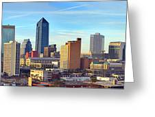 Jacksonville Skyline Morning Day Color Panorama Florida Greeting Card