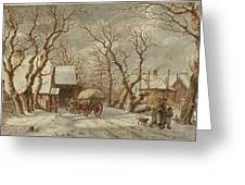 Jacob Cats Dutch, 1741 - 1799, Winter Scene Greeting Card