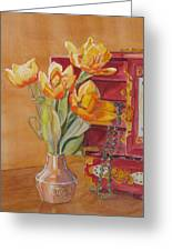 Jade And Tulips Greeting Card