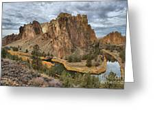 Jagged Peaks And River Reflections Greeting Card