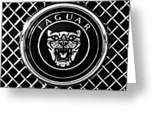Jaguar Grille Emblem -0317bw Greeting Card