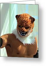 Jaguar Man Mask Greeting Card