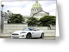 Jaguar Xk And The Capitol Building Greeting Card