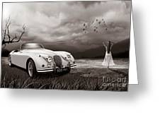 Jaguar Xk150 - Admiring The View Greeting Card
