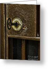 Jail Cell Door Lock  And Key Close Up Greeting Card